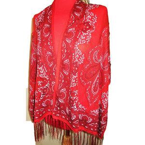 Shawl Sheer Red Fringed Long Scarf Evening Wrap